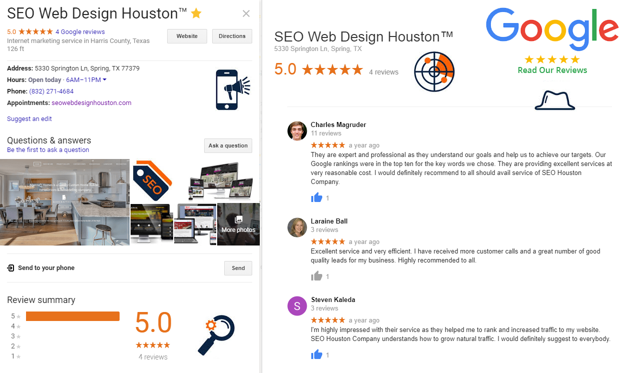 Google Reviews SEO Web Design Houston